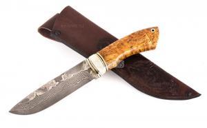 Нож Волк: сталь Ламинатный дамаск; рукоять стабилизированная кар. береза