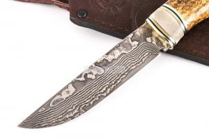 Нож Глухарь: сталь Ламинатный дамаск; рукоять стабилизированная кар. береза