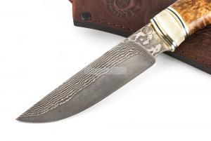 Нож Енот: сталь Ламинатный дамаск; рукоять стабилизированная кар. береза