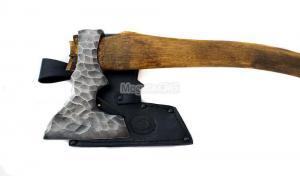 """Топор """"Ермак"""": сталь углерод + ХВГ, каменный век; рукоять орех"""