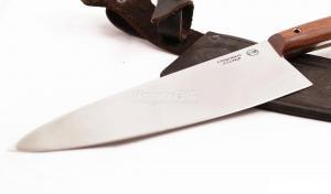 Нож Повар 1: сталь х12мф, рукоять цельнометаллическая, махагон