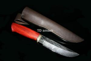 Нож Глухарь: сталь Ламинатный дамаск; рукоять стабилизированная береза