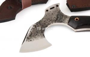 мини Томагавк: сталь кованая 9ХФ; рукоять черный граб