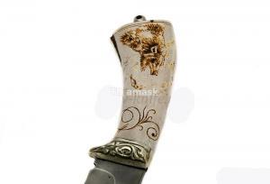 Нож Волк: сталь алмазка рукоять рог лося художественный рисунок