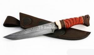 Нож Зубр: сталь алмазка; резная рукоять падук-венге