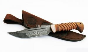 Нож Алтай: сталь дамаск, рисованный серебром, пила, дол; резная рукоять венге