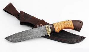 Нож Волк: сталь дамаск; рукоять береста