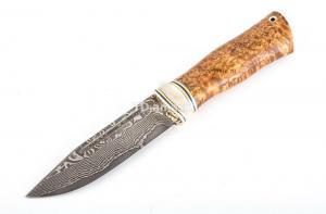 Нож Сибиряк: сталь Ламинатный дамаск; рукоять стабилизированная кар. береза