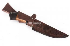 нож Сибиряк: сталь порошковая Bohler М390 рукоять карельская береза, черный граб