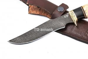 Нож Багира: дамасская сталь, рукоять карельская береза, граб