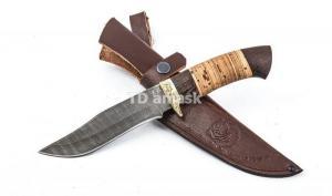 Нож Клык: дамасская сталь, рукоять венге, береста