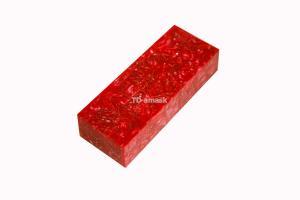Брусок для рукояти: акриловый композит - красный с мелкой стружкой