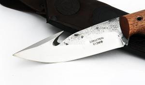 Нож Хищник: сталь х12мф; рукоять цельнометаллическая, махагон