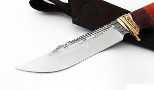 Нож Алтай: сталь х12мф, пила, дол; рукоять падук; художественное литьё - бронза