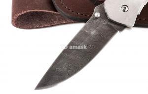 Складной нож Акула сталь дамаск рукоять сапеле
