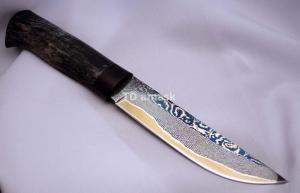 Нож TDamask Slipner, 65 слоев,  карельская береза, черный граб