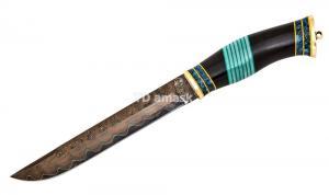 Нож Финский: сталь Ламинированная; рукоять черный граб вставки акрил, карельская береза