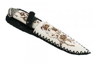 Нож Енот: сталь Ламинированная; рукоять рог лося, ножны рог лося, мельхиор