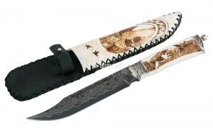 Нож Алтай: сталь Ламинированная; рукоять рог лося, ножны рог лося, мельхиор