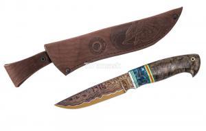 Нож Енот: сталь Ламинированная;рукоять стабилизированная карельская береза, вставка акрил