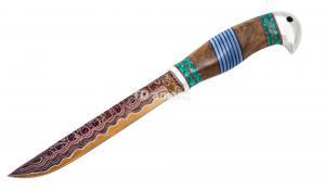 Нож Финский: сталь Ламинированная; рукоять стабилизированная карельская береза, вставка акрил, тыльник дюраль