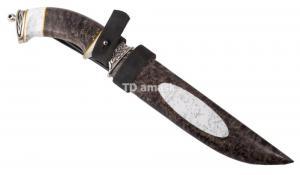 Нож Гусар: сталь Ламинированная; рукоять стабил. карельская береза, вставка акрил; ножны кар. береза, акрил