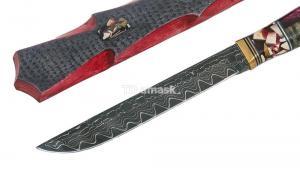 Нож Финский: сталь Ламинированная; рукоять композит гибрид, вставка клык моржа, больстер - бронза
