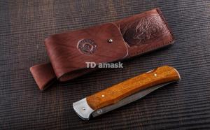 Складной нож Егерь: сталь Дамаск; рукоять сапеле