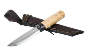 Якутский нож большой: сталь кованая Х12МФ, дол, рукоять кар. береза, граб