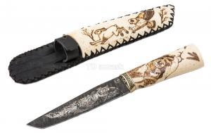 """нож """"Ронин"""": сталь дамаск рукоять рог лося, ножны рог лося"""