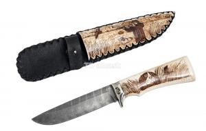 нож Глухарь: сталь дамаск рукоять рог лося, ножны рог лося Meinartas