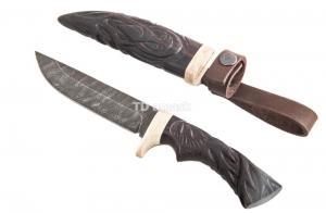 нож Глухарь: сталь дамаск рукоять венге, ножны венге; резьба по дереву, Meinartas