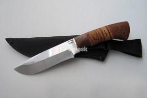 """Нож """"Лоcь"""", сталь Х12МФ, рукоять наборная береста и южный орех, meinartas"""