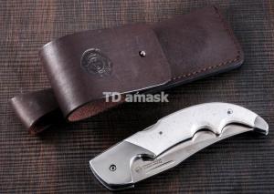 Складной нож Носорог: сталь кованая Х12МФ, рукоять американский камень (белый)