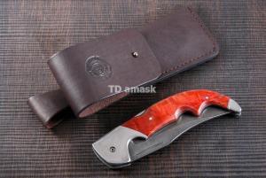 Складной нож Носорог: сталь кованая Дамаск, рукоять карельская береза №1