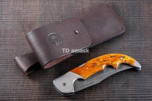 Складной нож Носорог: сталь кованая Дамаск, рукоять карельская береза №2