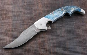 Складной нож Носорог: сталь кованая Дамаск, рукоять карельская береза №3